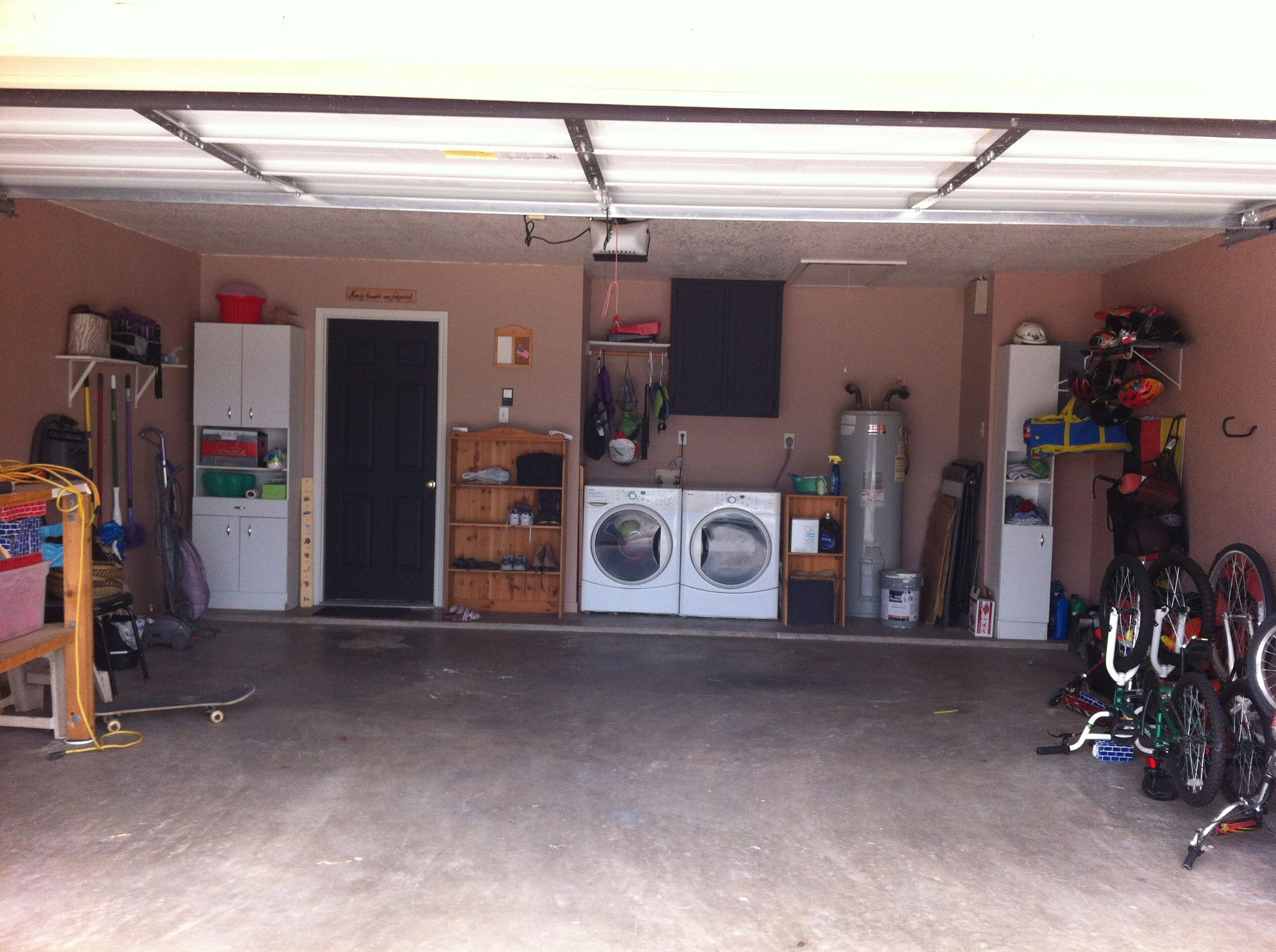 Garage Remodeled Painted Walls Chalkboard Paint On Door And Laundry Cabinet Old Snowboard