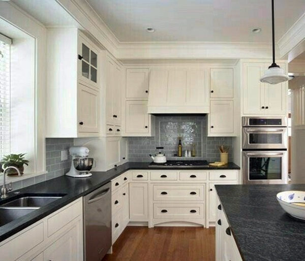 White Cabinets With Black Countertops And Gray Subway Tile Backsplash White Modern Kitchen Black Kitchen Countertops White Cabinets Black Countertops