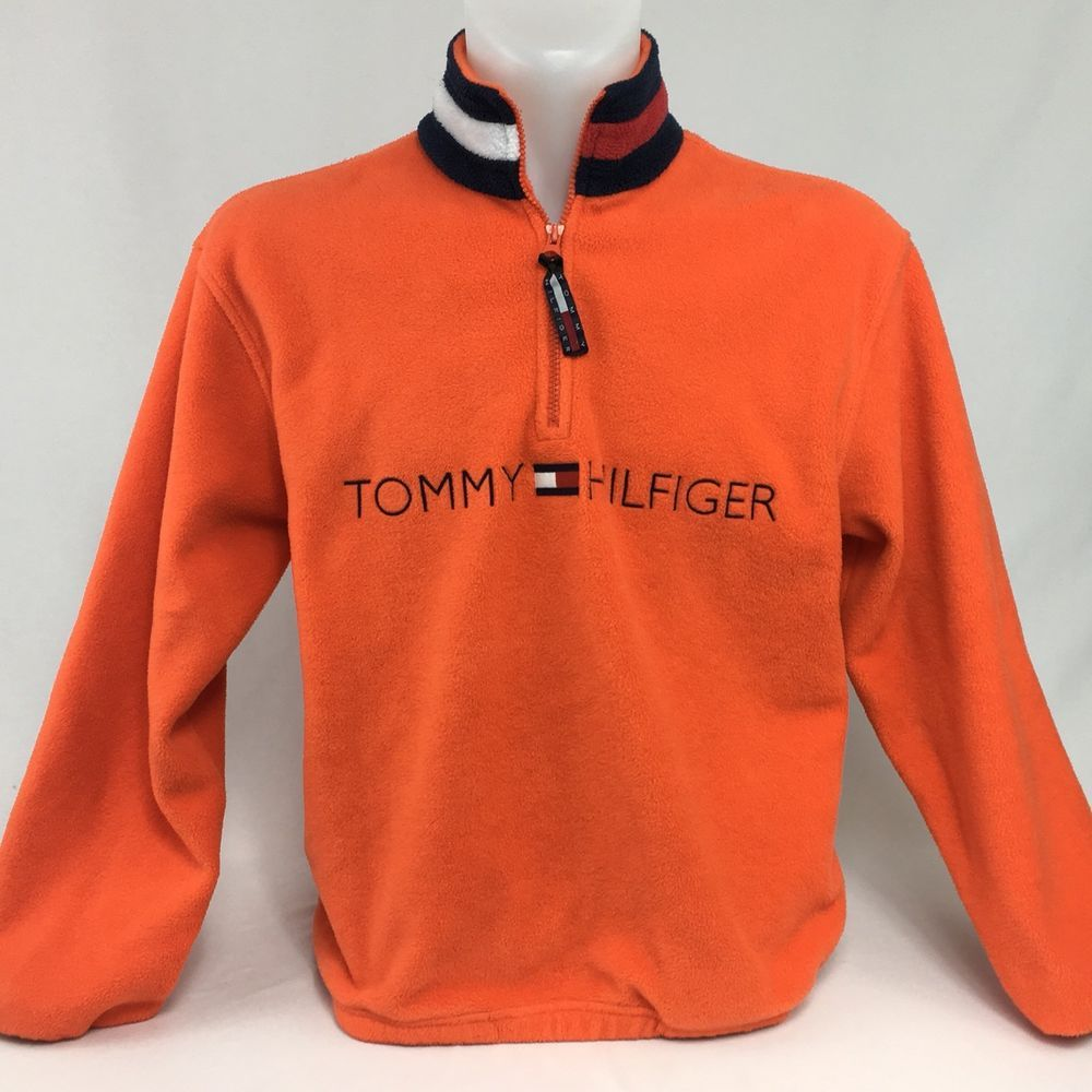 VTG 90's Tommy Hilfiger SP Orange Color Block Fleece