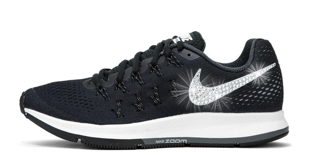 2017 glitter kicks Nike Air Zoom Pegasus 33 Crystallized Swarovski Swoosh  Black · Running Shoes ...