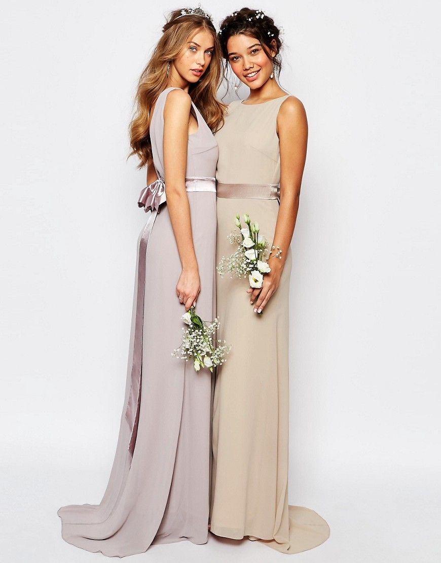 Image of tfnc wedding sateen bow back maxi dress bridesmaid