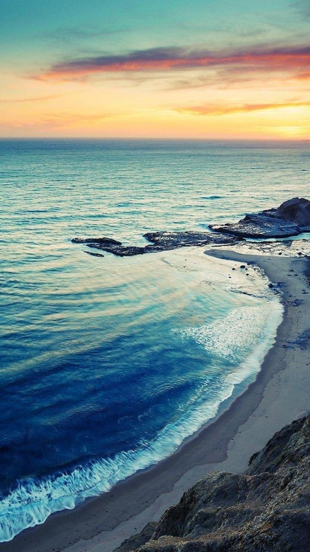 Nature iPhone 6 Plus Wallpapers - Sunrise Beach Seaside Coast iPhone 6 Plus HD Wallpaper #iPhone ...
