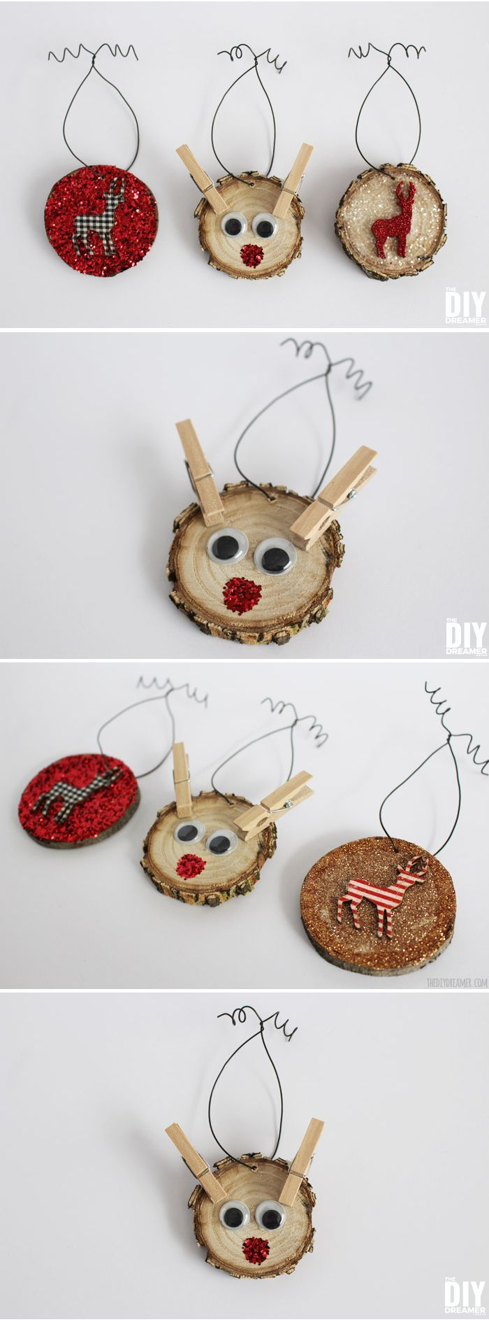 The cutest Rudolph Ornament EVER!! Reindeer Wood Slice Ornament - Kid Craft!