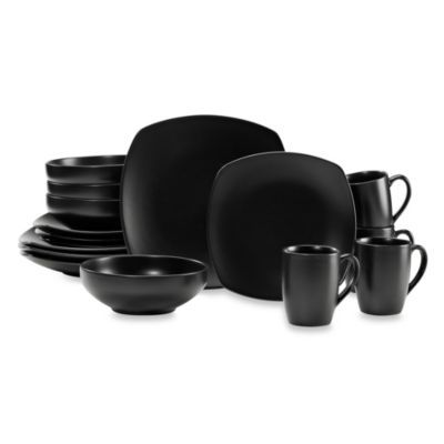 Dinnerware Set Black Gibson Baynes Matte Black 12pc