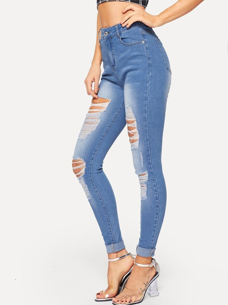 5ae9f57e4d0 Destroyed Ripped Bleach Wash Jeans in 2019 | Shopping Stuff | Jeans ...