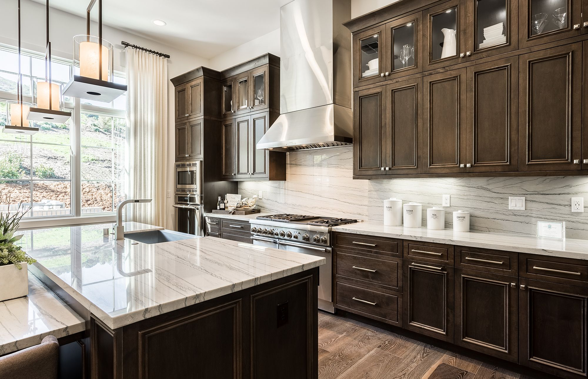 Solid Slab Backsplash With Dark Cabinets Backsplash With Dark Cabinets Dark Wood Kitchen Cabinets Kitchen Remodel Small