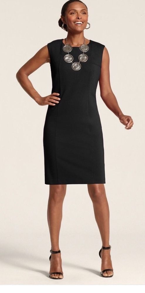 So Slimming By Chicos 3 Jackie Dress Sheath Black Career Womens