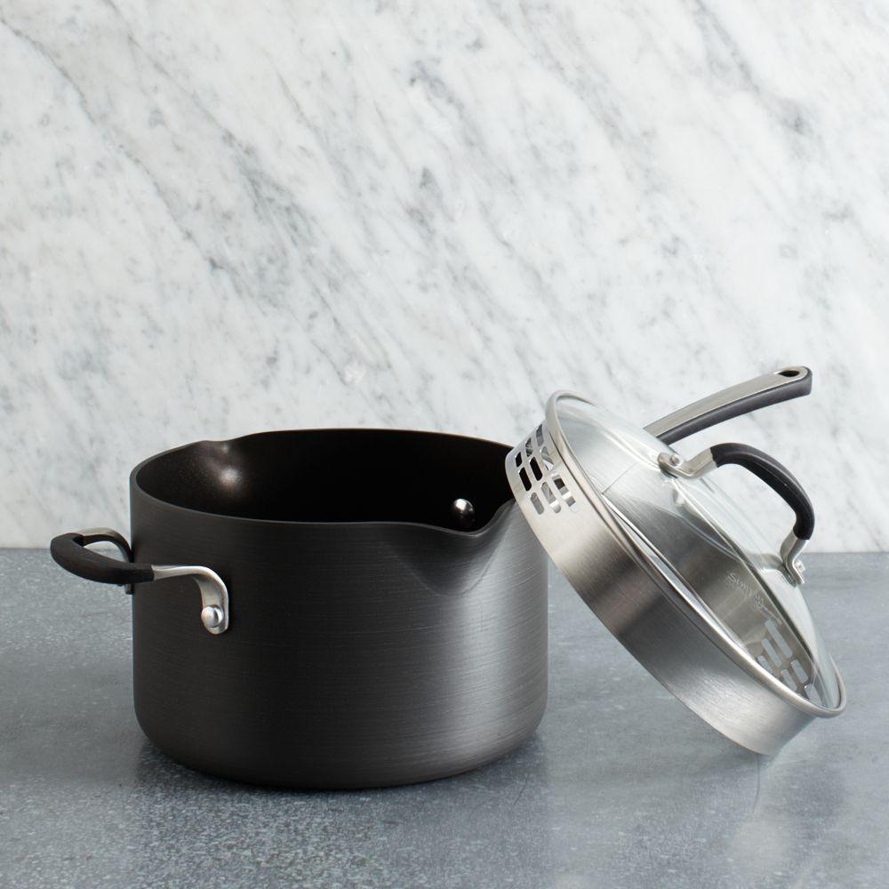 Simply Calphalon Nonstick 4 Quart Pour & Strain Pot with Lid