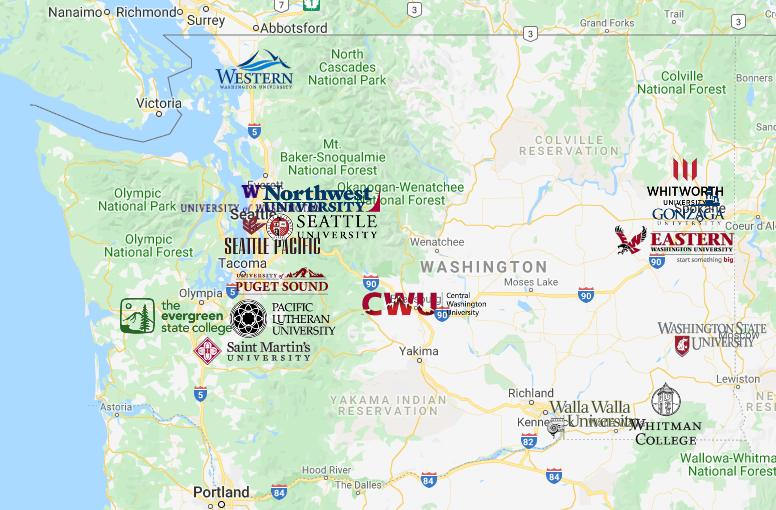 Colleges In Washington Map Washington Map Washington Map