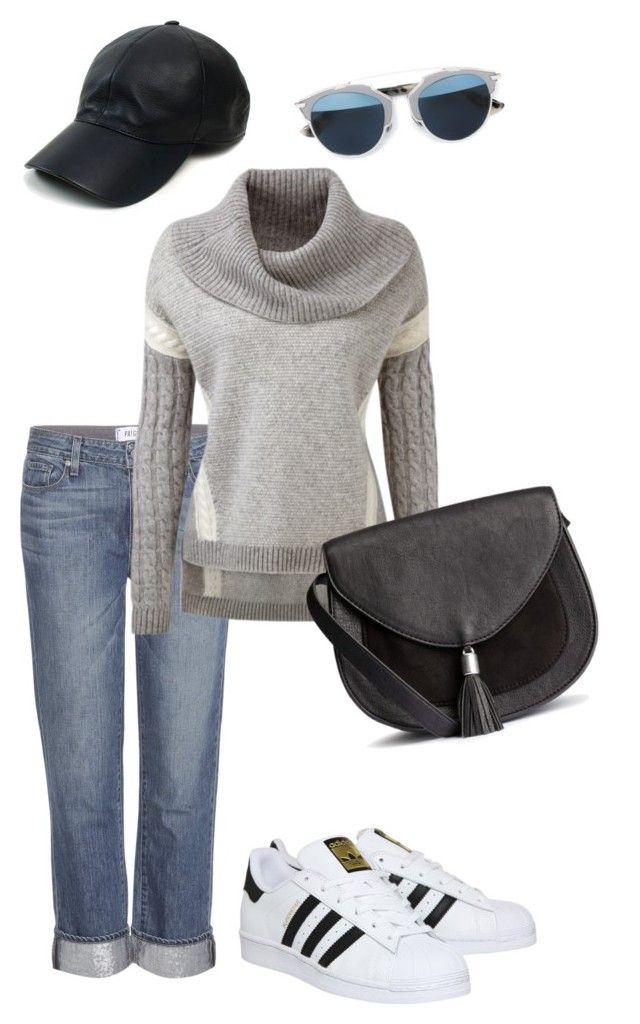 """Greyish"" by dessy-ilsanty on Polyvore featuring Paige Denim, Vianel, Christian Dior, adidas, women's clothing, women's fashion, women, female, woman and misses"
