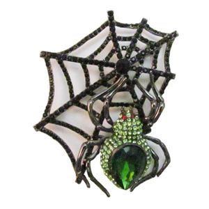 Austrian Rhinestone Crystal Green Spider