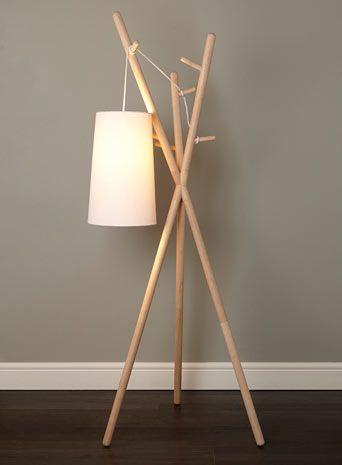 Bhs Illuminate Logan Coat Stand Floor Lamp Blonde Wood Tripod Coat Stand Base With Loose Fabric Flex Ca Decoracao De Sitio Decoracao De Casa Decoracao