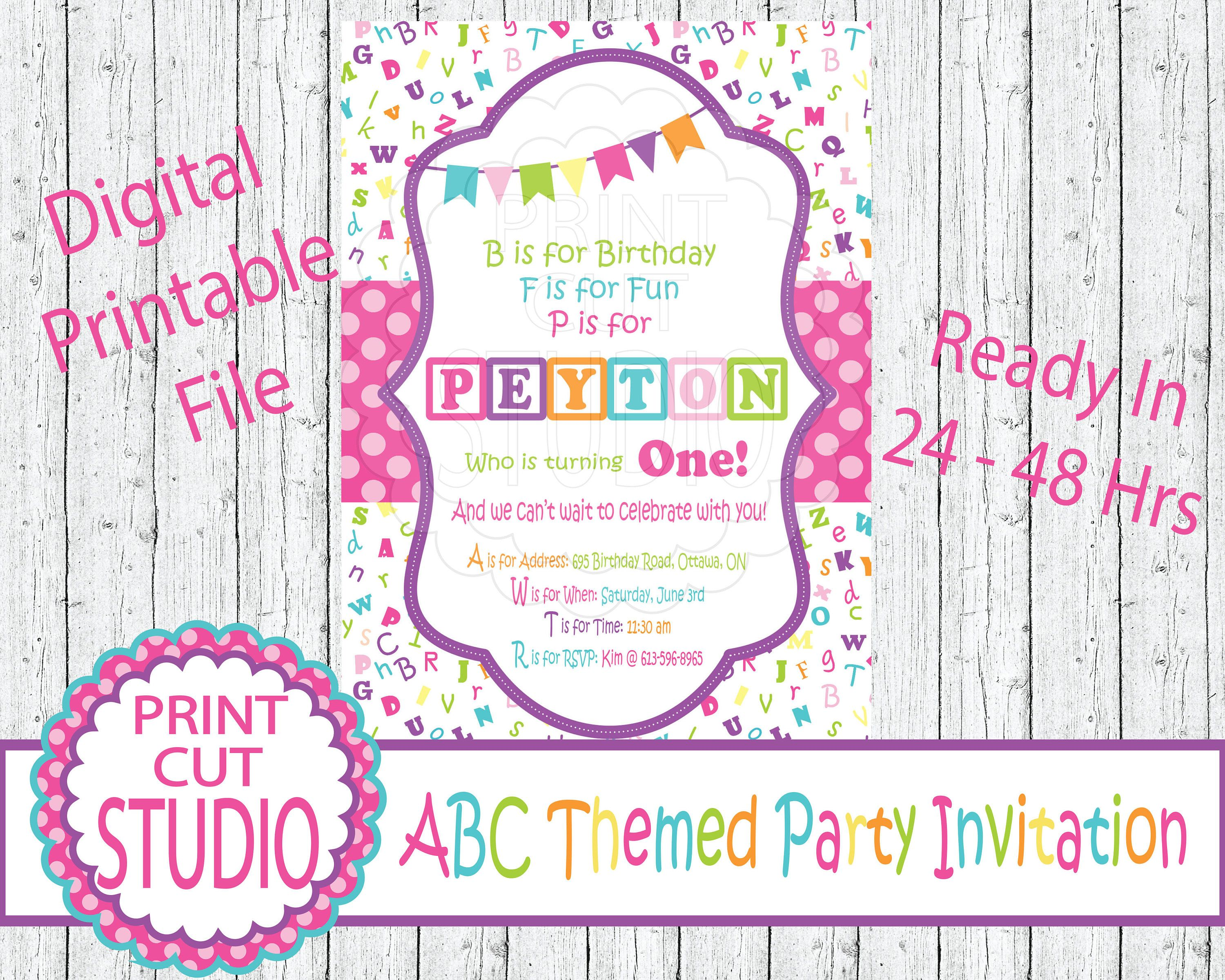 Girly Abc Alphabet Themed Party Invitation Personalized