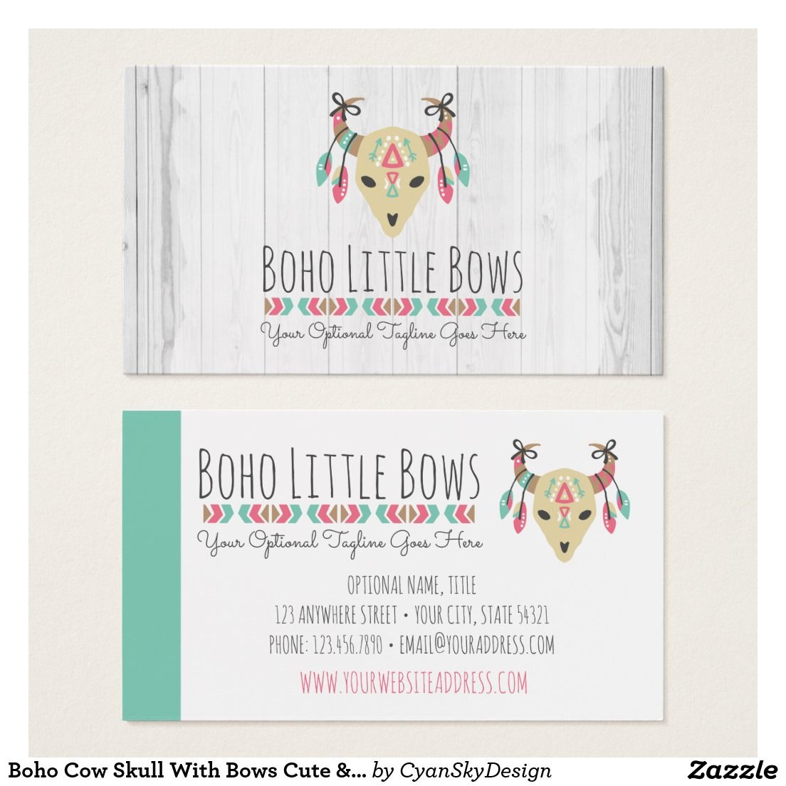 Boho cow skull with bows cute rustic boutique business