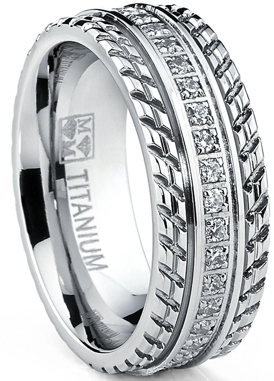 Mens Titanium Wedding Band Engagement Eternity ring with