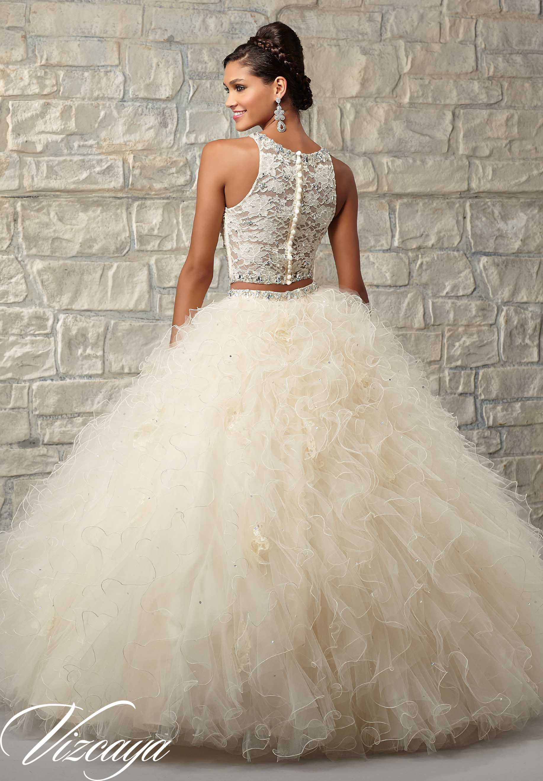 89026 Quinceanera Gowns Two-Piece Ruffled Tulle Skirt with Lace ...