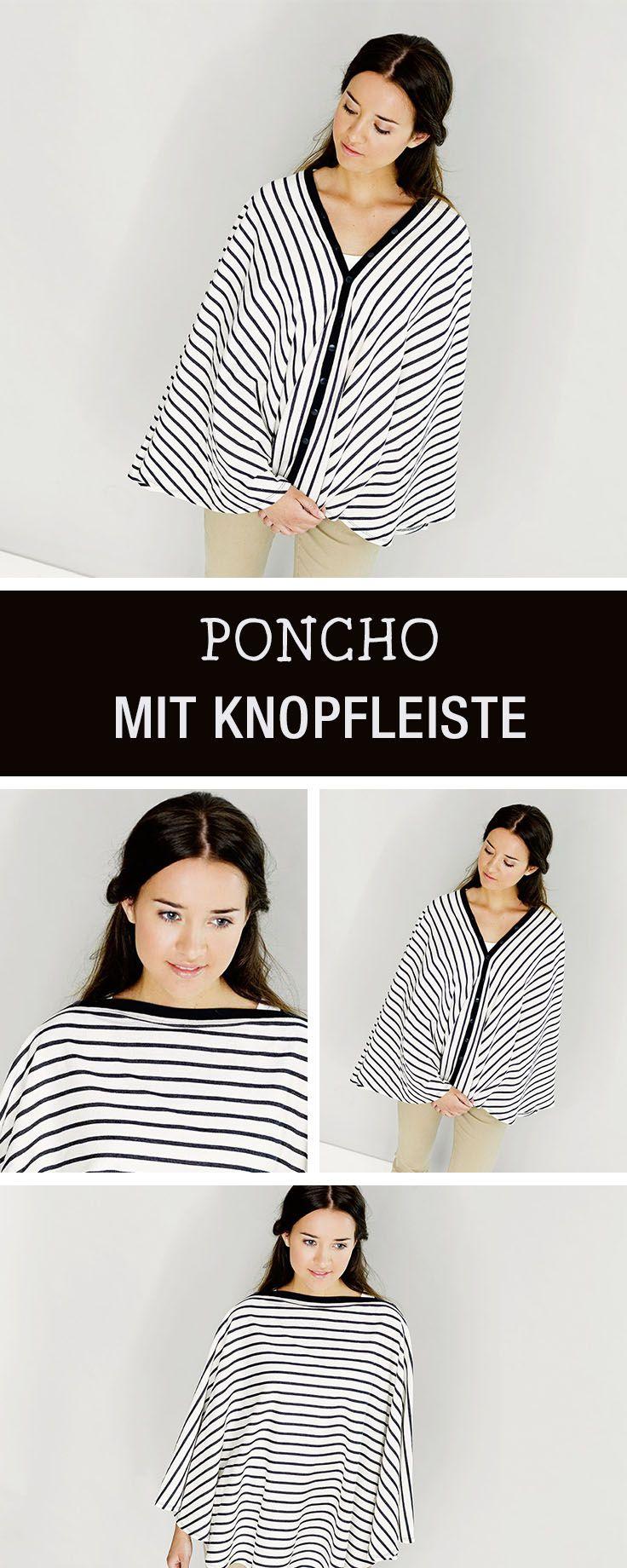 DIY-Anleitung: Poncho mit Knopfleiste nähen via DaWanda.com ...