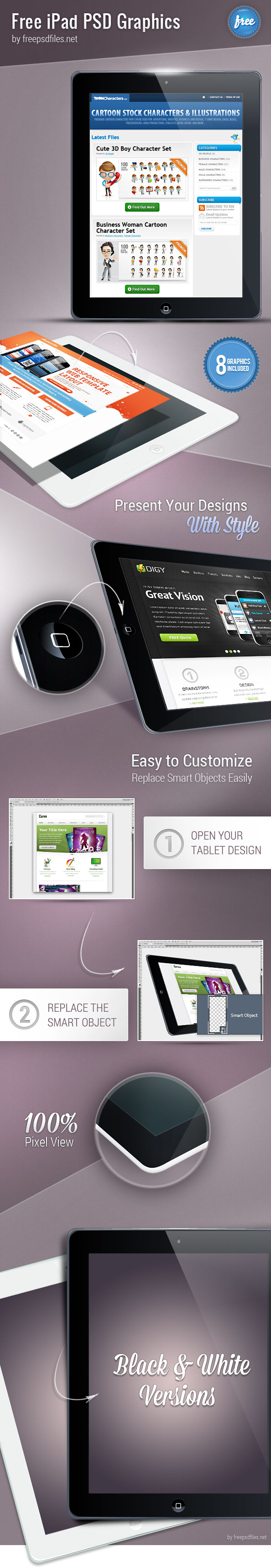 iPad PSD graphics designed in perspective views. We have included both white and black versions in our PSD. Download this massive PSD set and use it to present your applications in an eye-catchy way. Continue reading