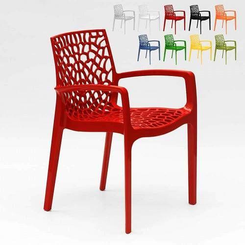 Grand Soleil Polypropylene Design Chair With Armrests For Kitchens Bar Cafe Gruvyer Arm Red Chair Design Polypropylene Design Velvet Dining Chairs