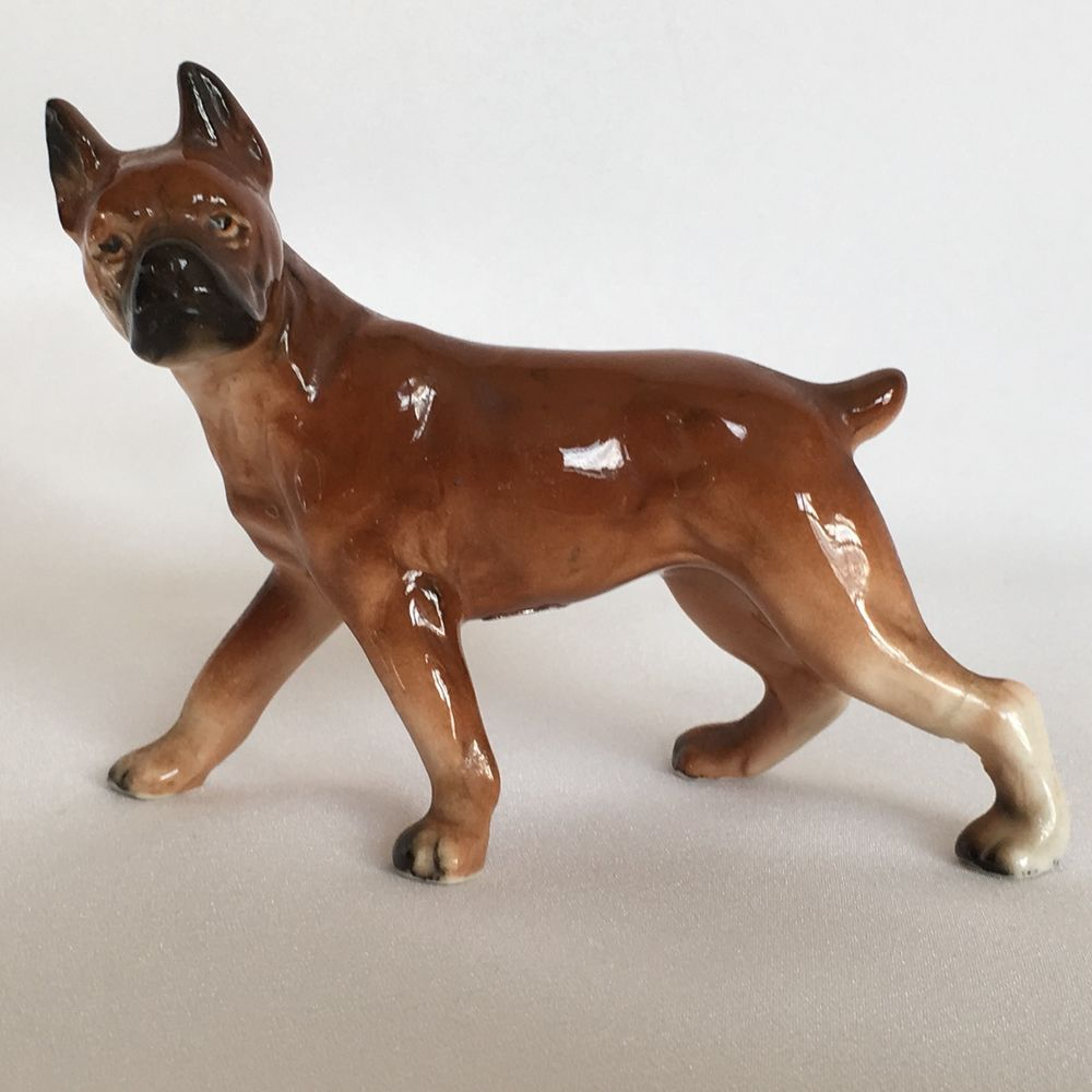 1950s Ucagco Boxer Dog Figurine Ceramic Made Japan Foil Label