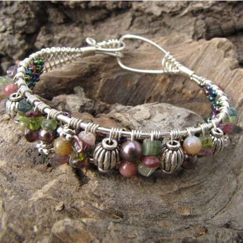 Tail Feathers Bracelet ~ Handmade Wire Wrapped Sterling Silver Gem ...