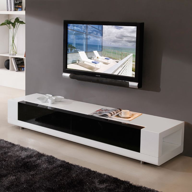 contemporary media console furniture. B Modern Editor Tv Stand - Available In White Or Black High Gloss Finish. 2 Tempered Glass Drawers, And Side Accent Shelves. Contemporary Media Console Furniture