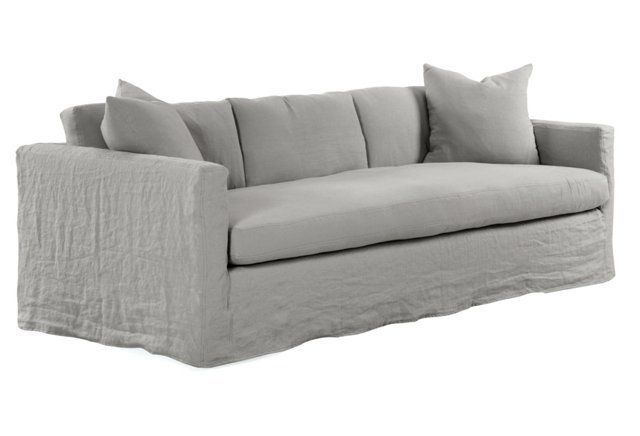 Francis Linen Slipcover Sofa Silver Slipcovered Sofa Sofa