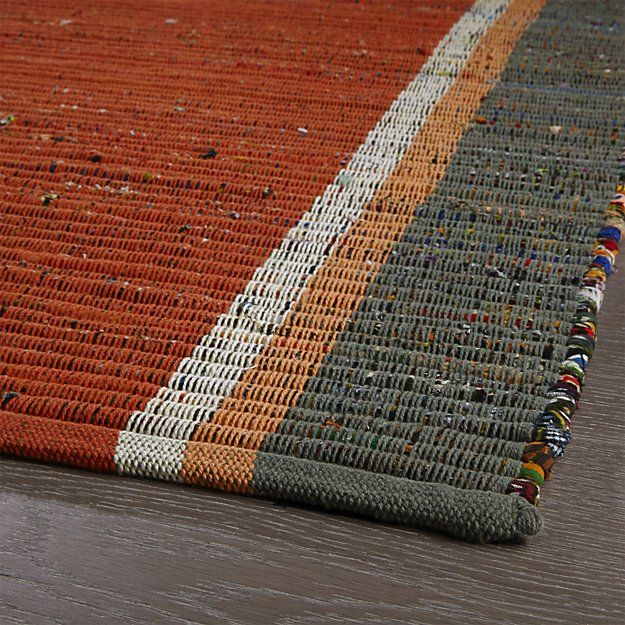 Quentin Orange Cotton 2.5\'x6\' Rug Runner | Crate and Barrel ...