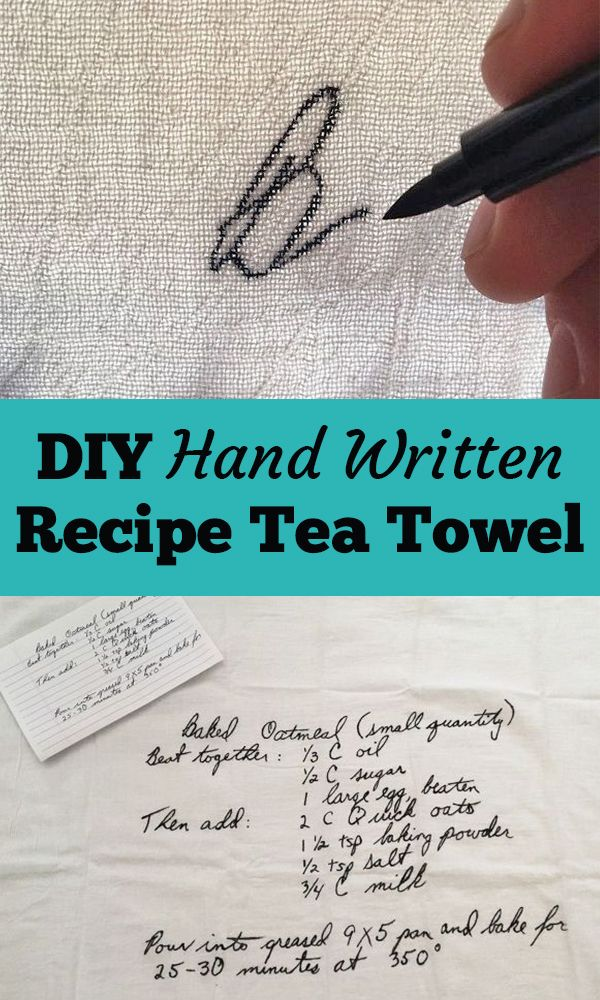 Hand Written Recipe Tea Towel