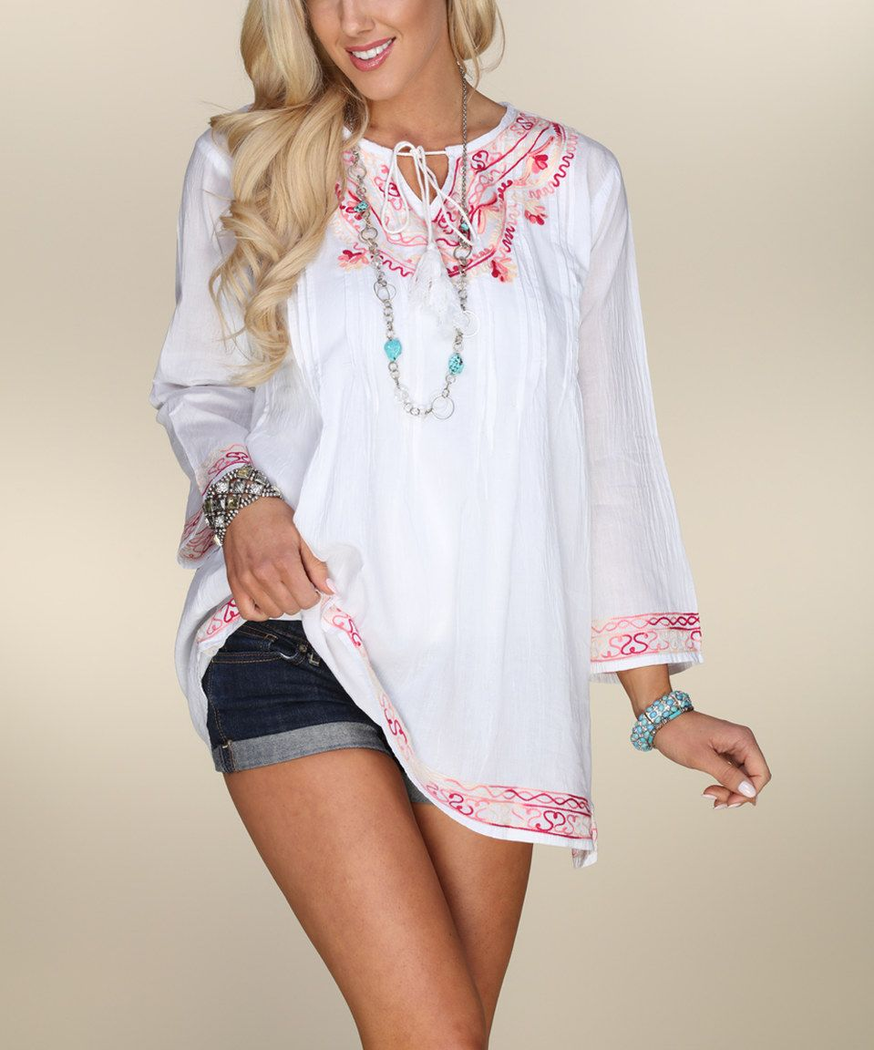 Take a look at this Ananda's Collection White & Peach Abstract Heart Keyhole Tunic today!