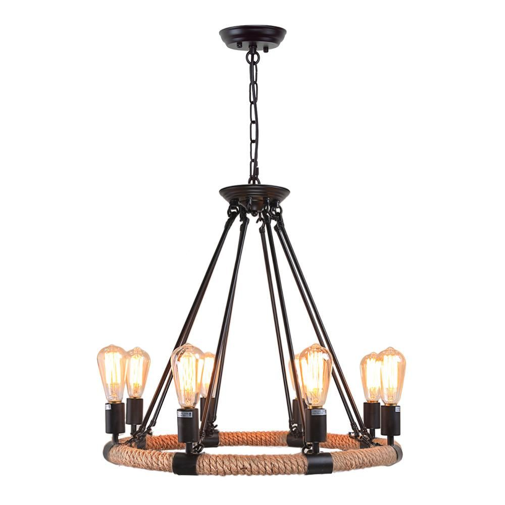 Lnc 8 Light Black Rust Rope Chandelier Rope Chandelier Rustic Pendant Lighting Rustic Chandelier