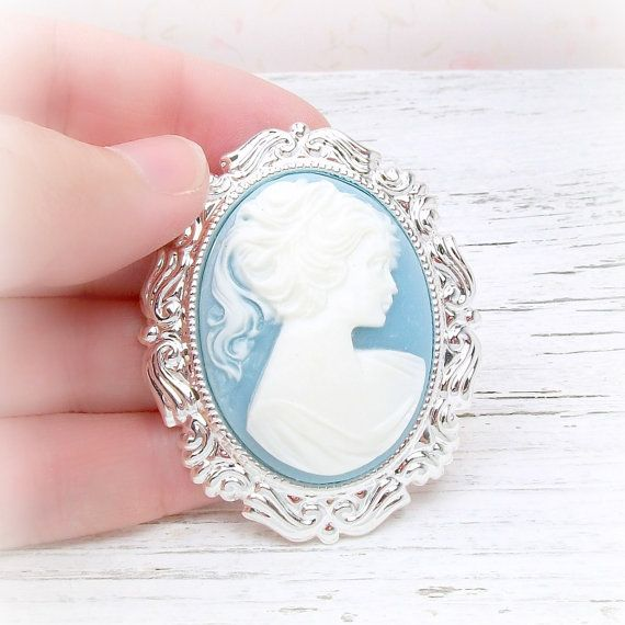 cameo brooch  blue and white ponytail lady  by TheLocketBox, $22.00
