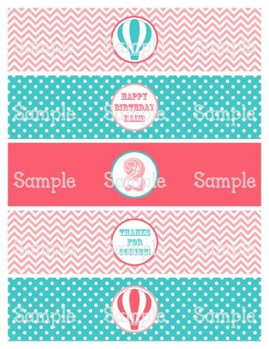 Printable MM Vintage Hot Air Balloon Water Bottle Label Wrappers