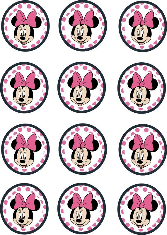 Instant download printable 12 x minnie mouse birthday for Minnie mouse cake template free