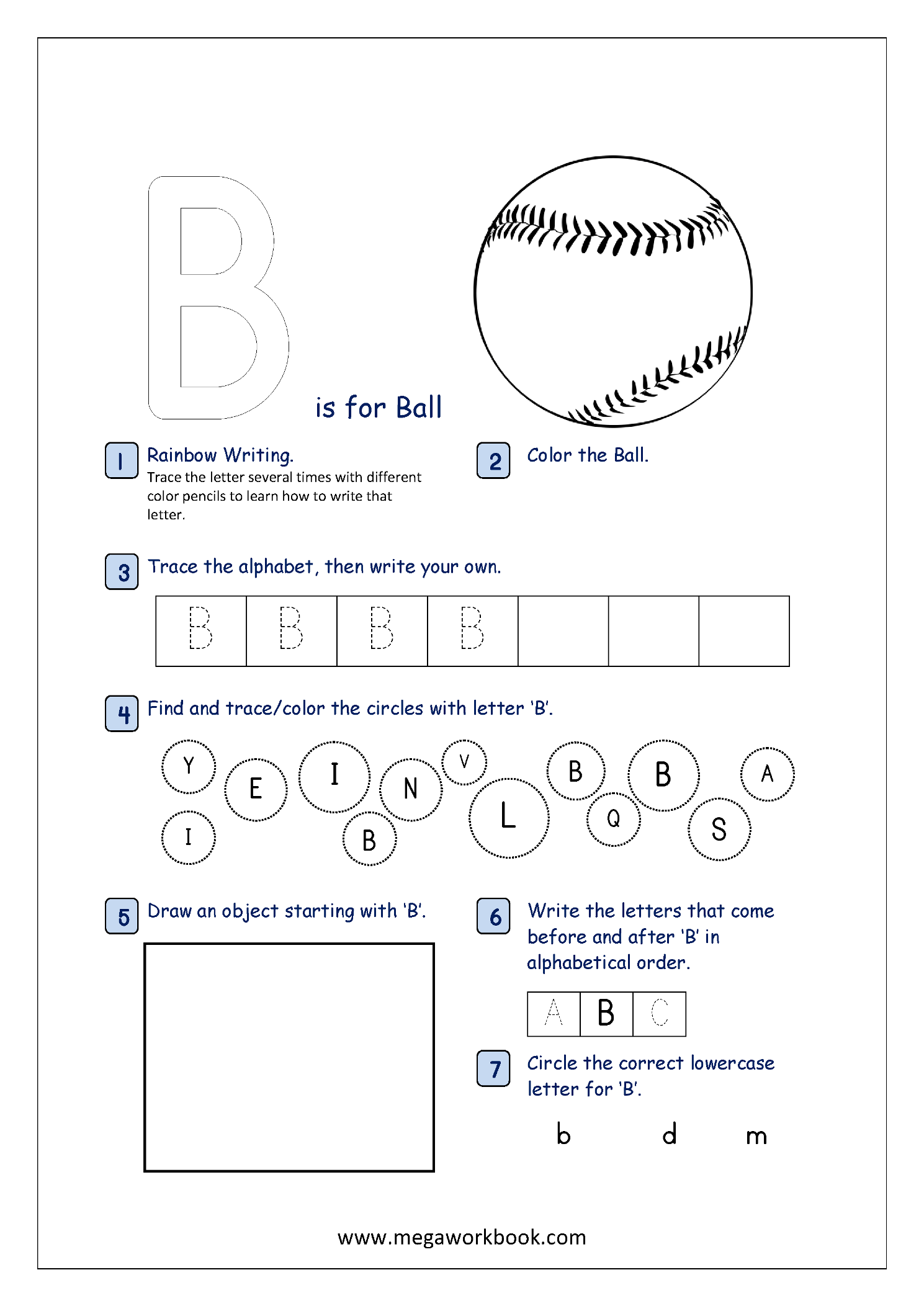 Alphabet Recognition Activity Worksheet Capital Letter B For