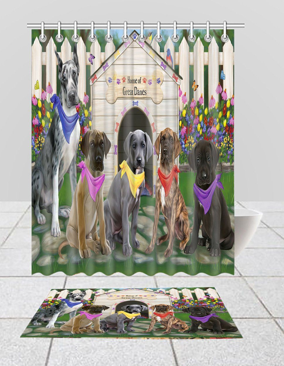 Spring Dog House Great Dane Dogs Bath Mat And Shower Curtain Combo