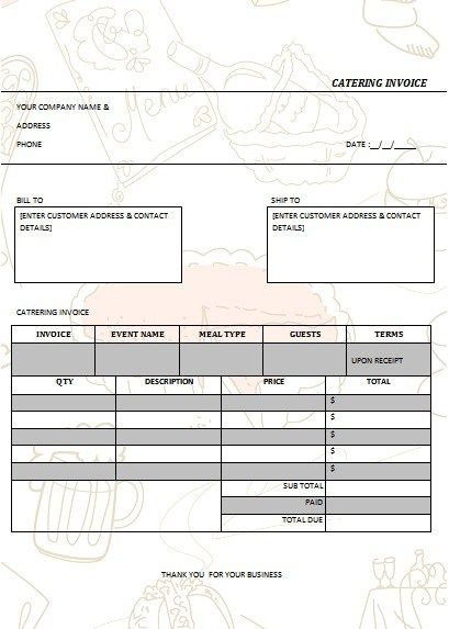 CATERING INVOICE 5 catering ideas Pinterest Catering, Catering - sample catering invoice