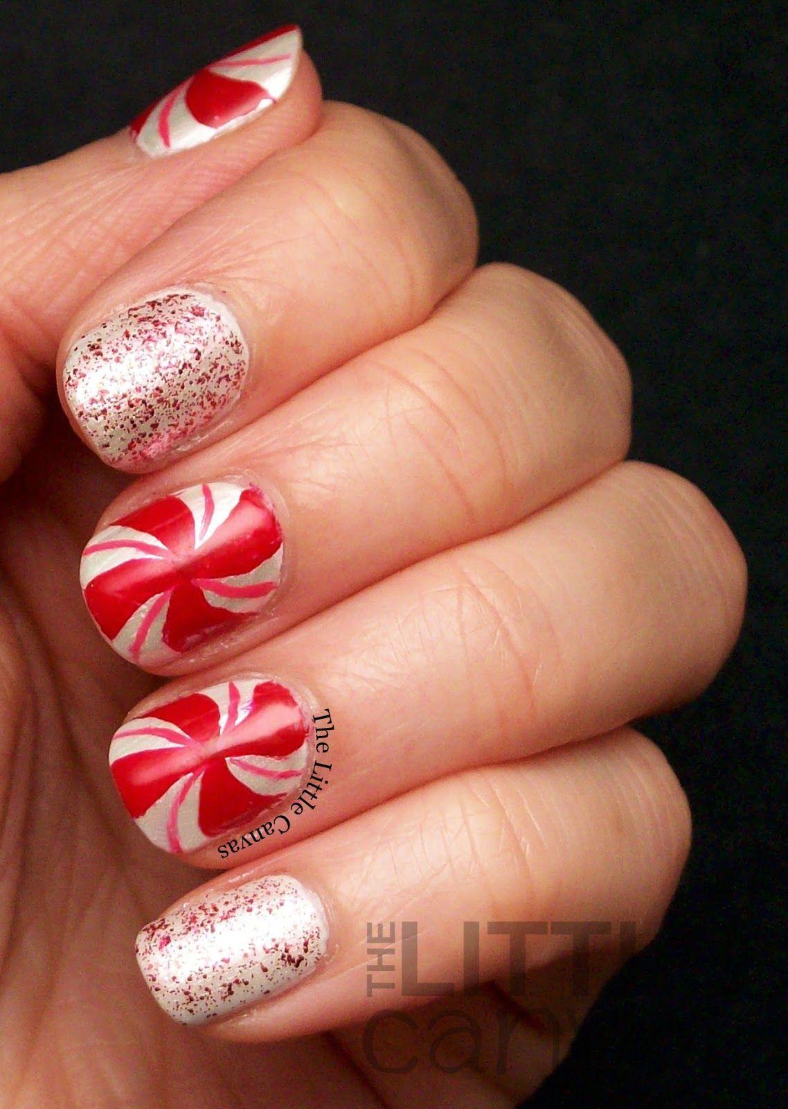 The Little Canvas Peppermint Candy Nail Art Nails Pinterest