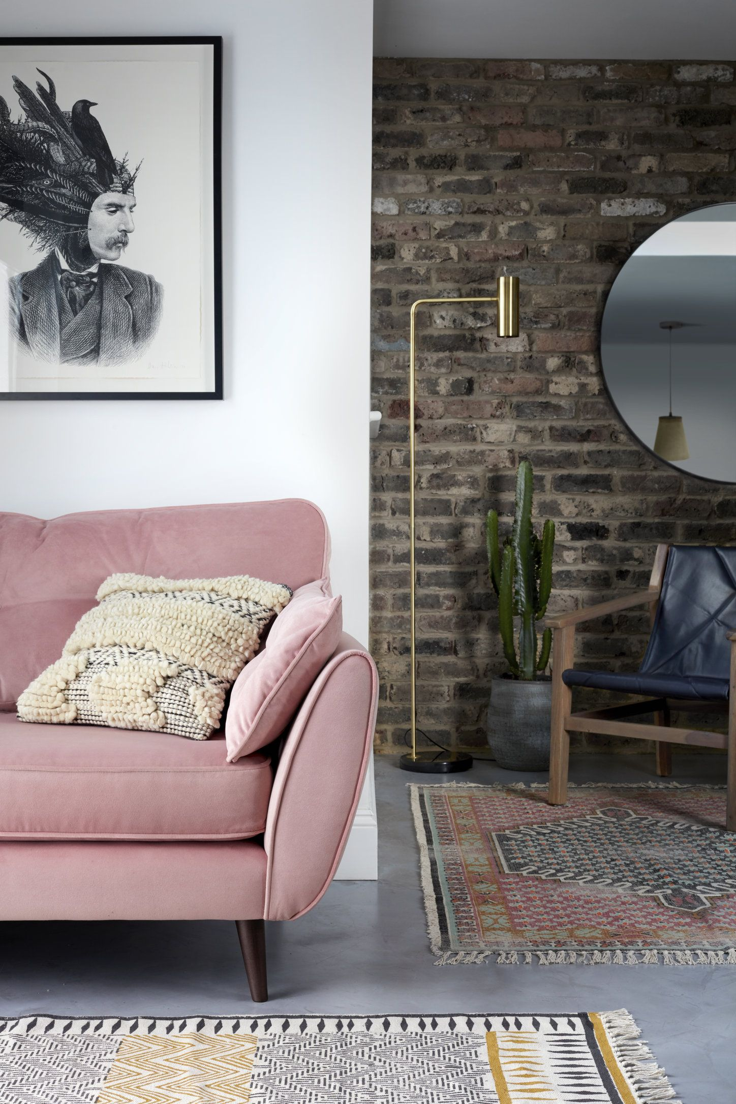Zinc Luxe Velvet French Connection Cuddler Sofa in Blush I DFS I