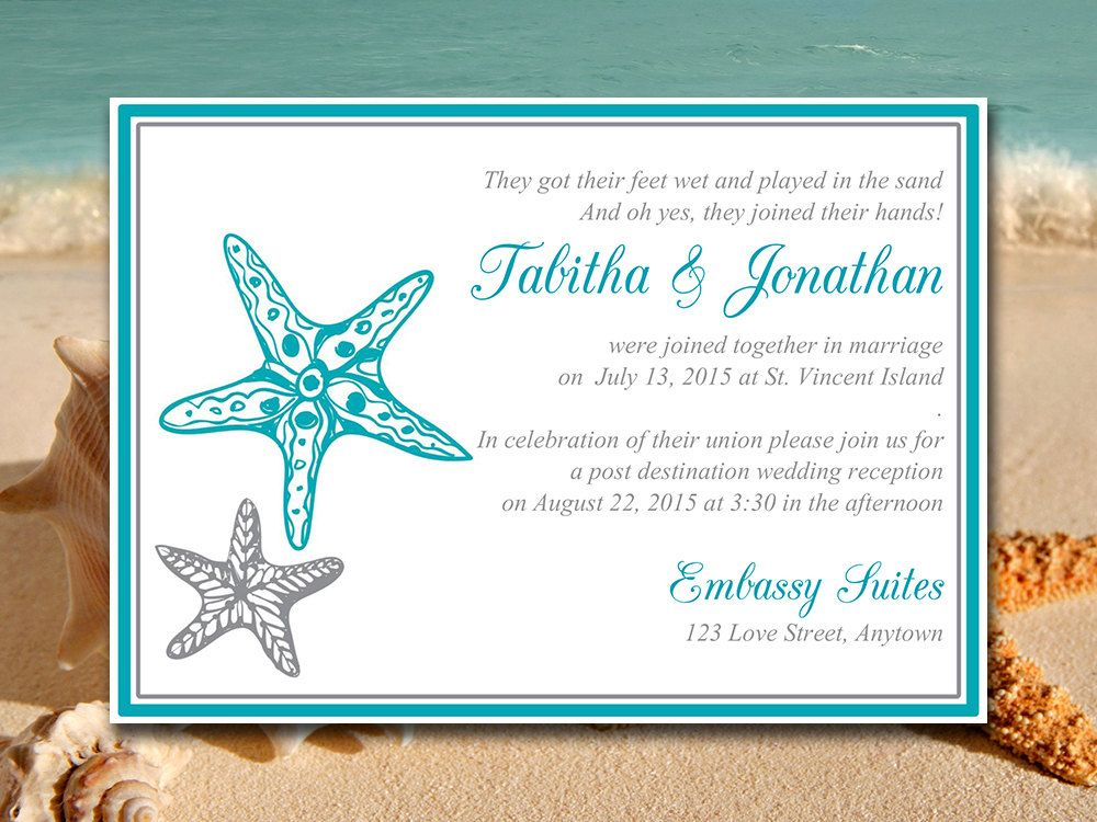 Beach Wedding Reception Invitation Template \