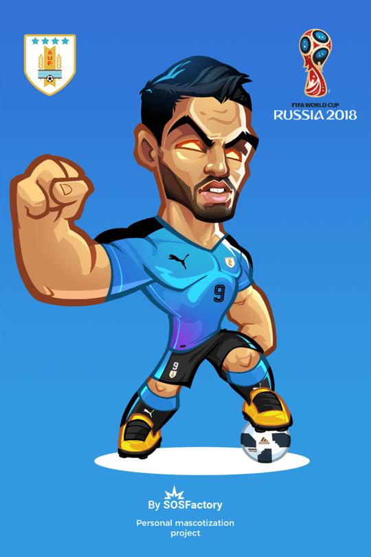 Russia 2018 Luis Suarez Diseno De Mascota Gifs De Futbol Dibujos De Futbol