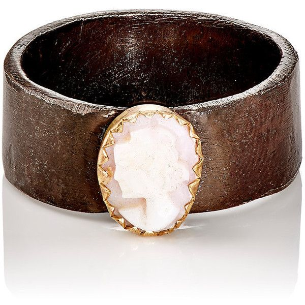 Julie Wolfe Women's Cameo Cigar Band (330 AUD) ❤ liked on Polyvore featuring jewelry, rings, gold, polish jewelry, shell jewelry, seashell jewelry, antique jewellery and seashell ring