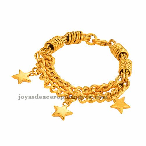 brazalete grueso con dije estrella en acero dorado inoxidable -SSBTG013519