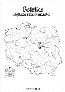 Mapa Polski Xxl Wieksze Miasta I Rzeki Printoteka Pl