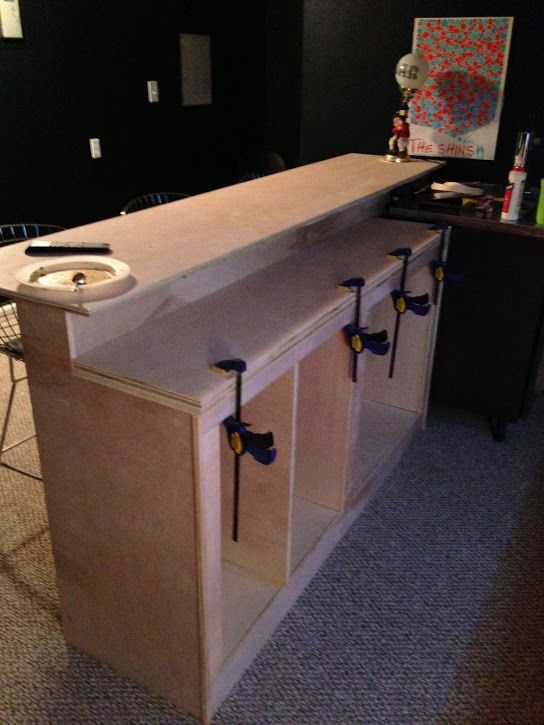 Kitchen Island 2 Tier diy bar tutorial. this sure would be cool in my basement