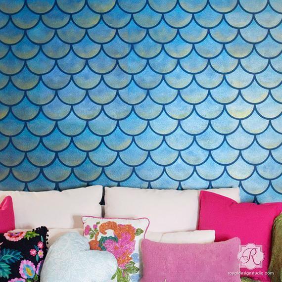 Scallops Design Wall Stencil Pattern – Large Wall Design DIY Painting – Mermaid Fish Scales Wallpaper Mural