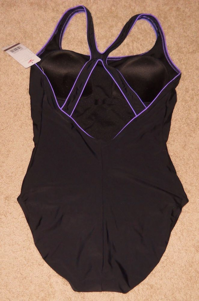 Speedo Swim Bathing Suit Black Racer Back Raspberry Trim Piping New