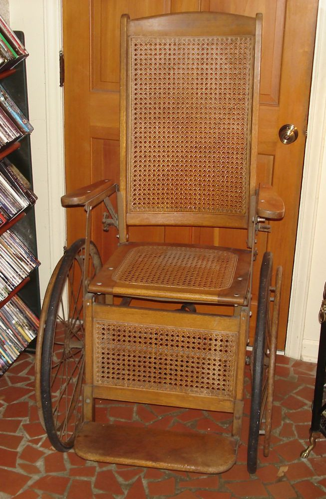 ANTIQUE GENDRON OAK & CANE WHEELCHAIR / FROM THE LATE