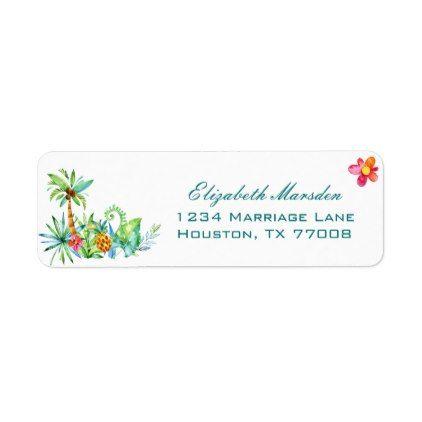 tropical floral elegant wedding return address label tree wedding