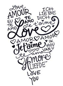 I love you in 100 languages English - I love you Afrikaans - Ek het